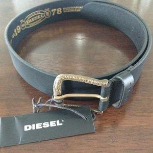 Diesel Black Leather Belt EU80/US32 Mens New